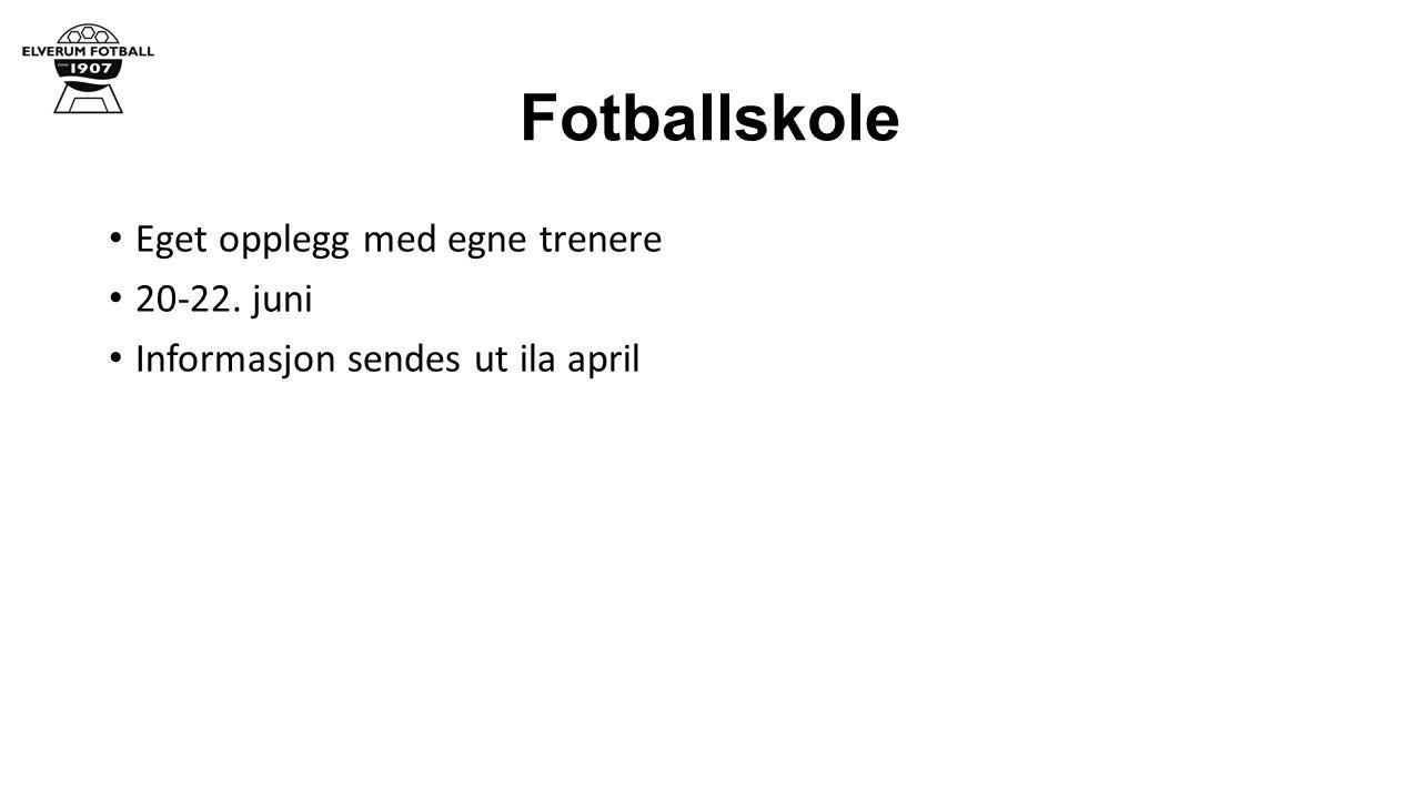 Fotballskole Eget opplegg med egne trenere 20-22. juni Informasjon sendes ut ila april
