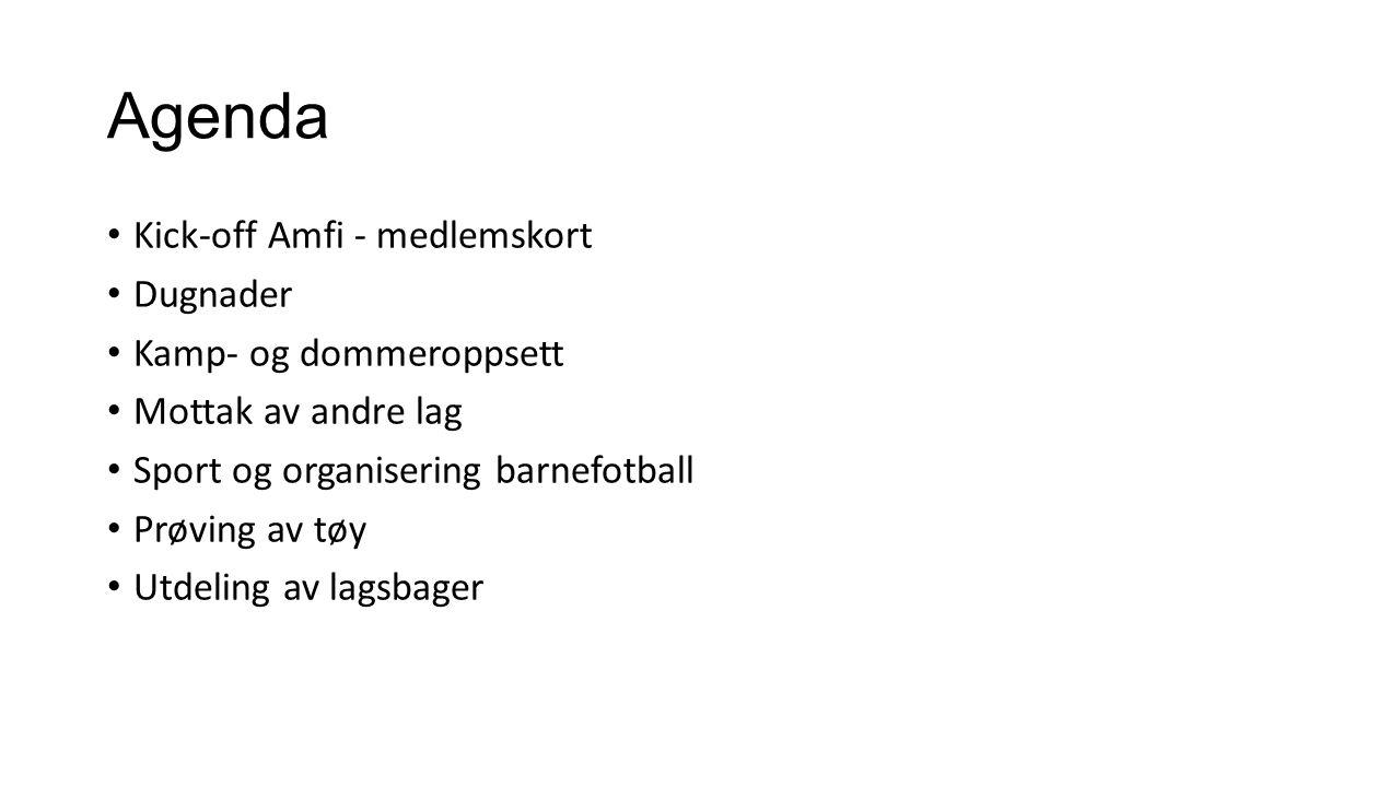 Agenda Kick-off Amfi - medlemskort Dugnader Kamp- og dommeroppsett Mottak av andre lag Sport og organisering barnefotball Prøving av tøy Utdeling av l