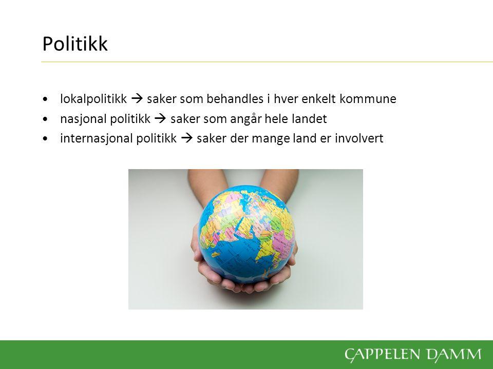 Politikk lokalpolitikk  saker som behandles i hver enkelt kommune nasjonal politikk  saker som angår hele landet internasjonal politikk  saker der mange land er involvert
