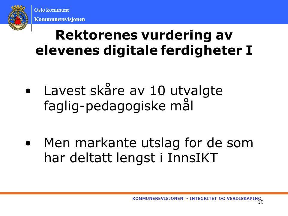 Oslo kommune Kommunerevisjonen KOMMUNEREVISJONEN - INTEGRITET OG VERDISKAPING 10 Rektorenes vurdering av elevenes digitale ferdigheter I Lavest skåre av 10 utvalgte faglig-pedagogiske mål Men markante utslag for de som har deltatt lengst i InnsIKT