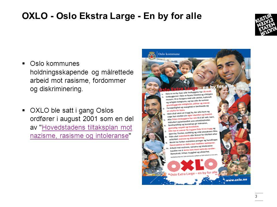3 OXLO - Oslo Ekstra Large - En by for alle  Oslo kommunes holdningsskapende og målrettede arbeid mot rasisme, fordommer og diskriminering.
