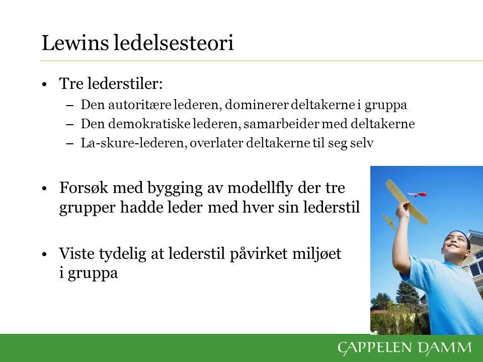 Lewins ledelsesteori Tre lederstiler: –Den autoritære lederen, dominerer deltakerne i gruppa –Den demokratiske lederen, samarbeider med deltakerne –La