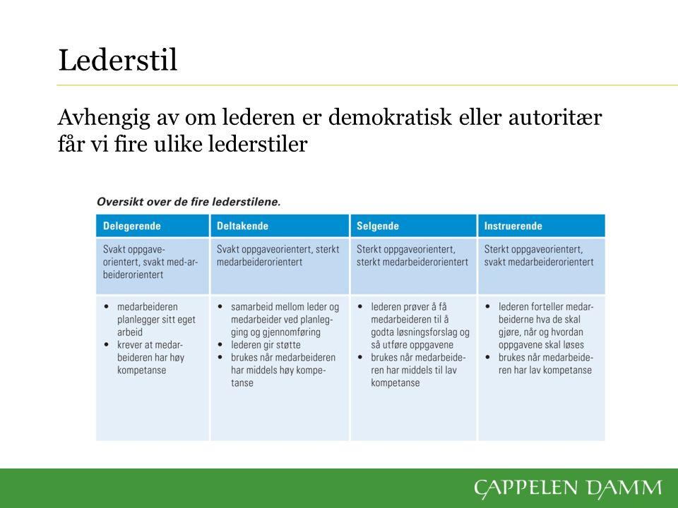 Lederstil Avhengig av om lederen er demokratisk eller autoritær får vi fire ulike lederstiler