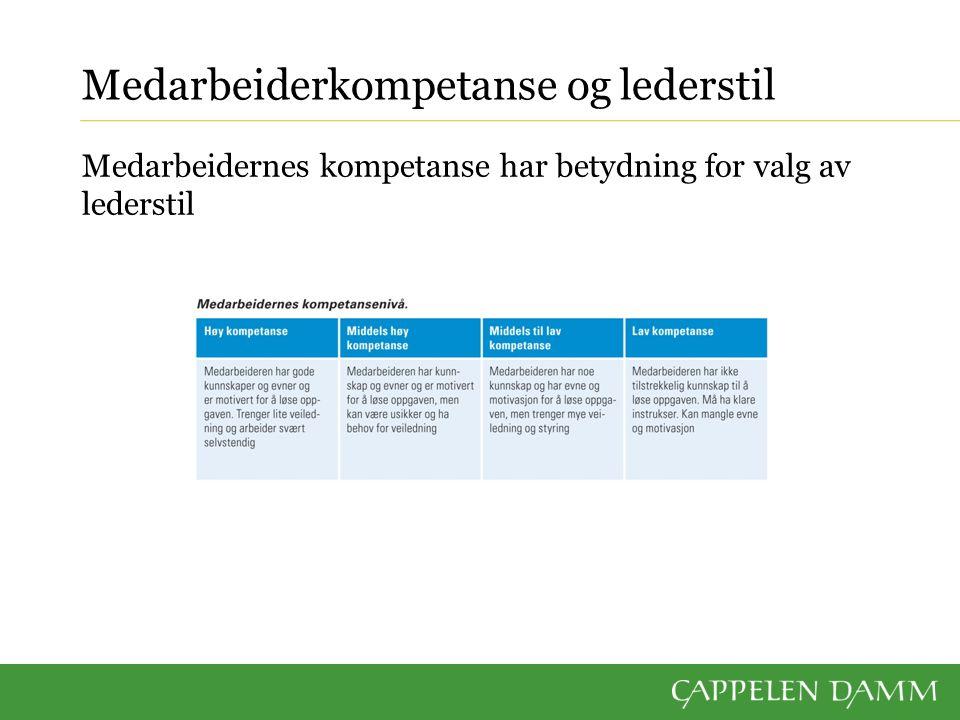 Medarbeiderkompetanse og lederstil Medarbeidernes kompetanse har betydning for valg av lederstil