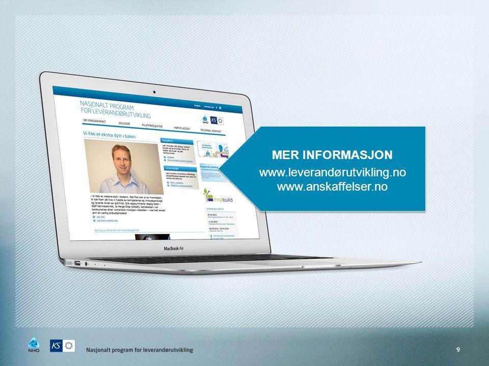 9 MER INFORMASJON www.leverandørutvikling.no www.anskaffelser.no MER INFORMASJON www.leverandørutvikling.no www.anskaffelser.no