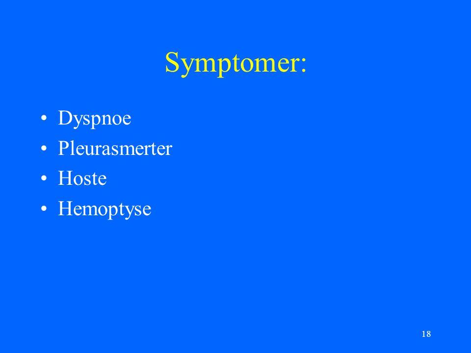 18 Symptomer: Dyspnoe Pleurasmerter Hoste Hemoptyse
