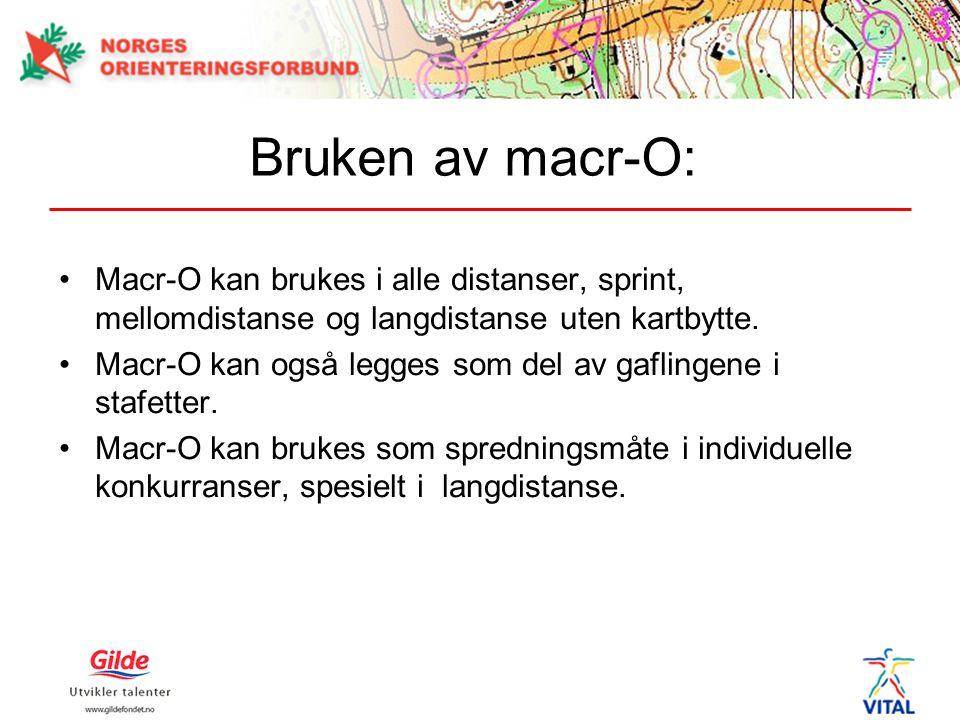 Bruken av macr-O: Macr-O kan brukes i alle distanser, sprint, mellomdistanse og langdistanse uten kartbytte.