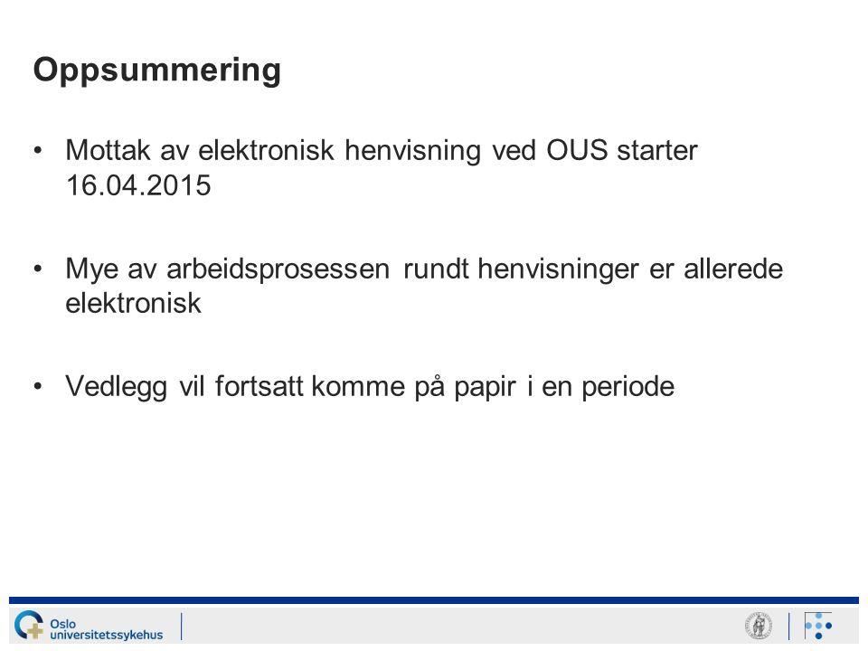 Oppsummering Mottak av elektronisk henvisning ved OUS starter 16.04.2015 Mye av arbeidsprosessen rundt henvisninger er allerede elektronisk Vedlegg vi