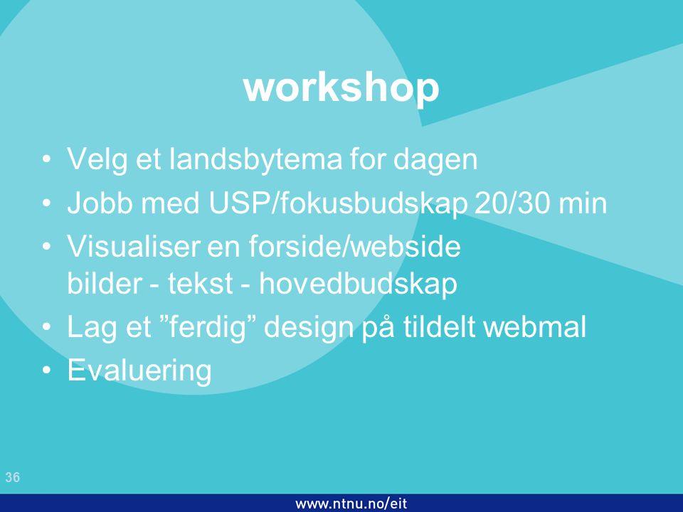 36 EiT 2006/2007 workshop Velg et landsbytema for dagen Jobb med USP/fokusbudskap 20/30 min Visualiser en forside/webside bilder - tekst - hovedbudskap Lag et ferdig design på tildelt webmal Evaluering