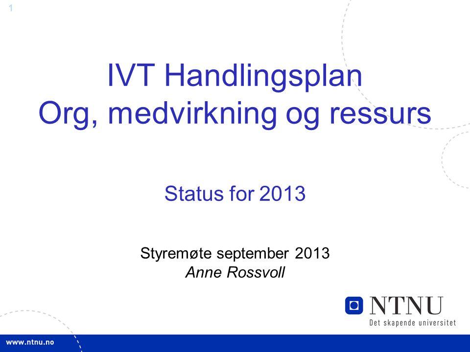 1 IVT Handlingsplan Org, medvirkning og ressurs Status for 2013 Styremøte september 2013 Anne Rossvoll