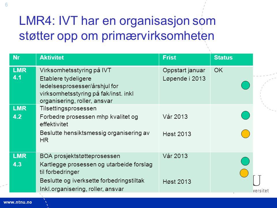 6 LMR4: IVT har en organisasjon som støtter opp om primærvirksomheten NrAktivitetFristStatus LMR 4.1 Virksomhetsstyring på IVT Etablere tydeligere led