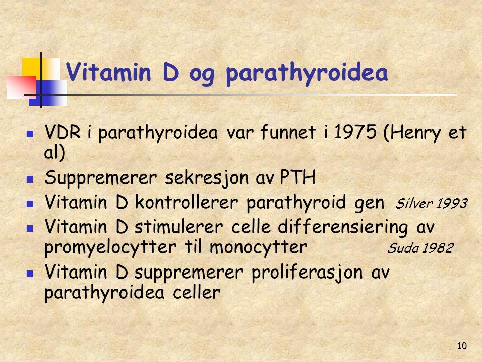 10 Vitamin D og parathyroidea VDR i parathyroidea var funnet i 1975 (Henry et al) Suppremerer sekresjon av PTH Vitamin D kontrollerer parathyroid gen Silver 1993 Vitamin D stimulerer celle differensiering av promyelocytter til monocytter Suda 1982 Vitamin D suppremerer proliferasjon av parathyroidea celler