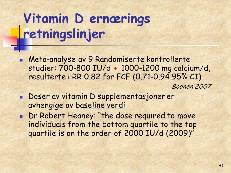 41 Vitamin D ernærings retningslinjer Meta-analyse av 9 Randomiserte kontrollerte studier: 700-800 IU/d + 1000-1200 mg calcium/d, resulterte i RR 0.82 for FCF (0.71-0.94 95% CI) Boonen 2007 Doser av vitamin D supplementasjoner er avhengige av baseline verdi Dr Robert Heaney: the dose required to move individuals from the bottom quartile to the top quartile is on the order of 2000 IU/d (2009)