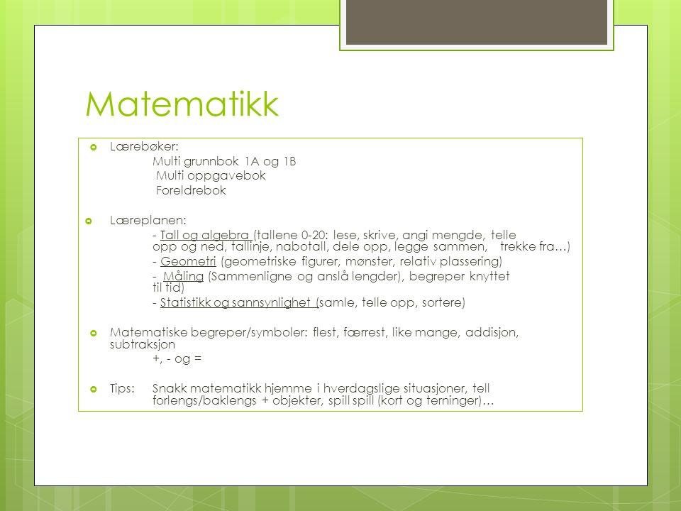 Matematikk  Lærebøker: Multi grunnbok 1A og 1B Multi oppgavebok Foreldrebok  Læreplanen: - Tall og algebra (tallene 0-20: lese, skrive, angi mengde, telle opp og ned, tallinje, nabotall, dele opp, legge sammen, trekke fra…) - Geometri (geometriske figurer, mønster, relativ plassering) - Måling (Sammenligne og anslå lengder), begreper knyttet til tid) - Statistikk og sannsynlighet (samle, telle opp, sortere)  Matematiske begreper/symboler: flest, færrest, like mange, addisjon, subtraksjon +, - og =  Tips: Snakk matematikk hjemme i hverdagslige situasjoner, tell forlengs/baklengs + objekter, spill spill (kort og terninger)…
