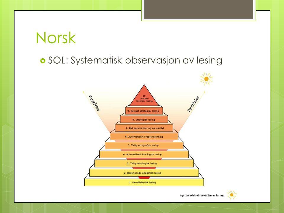 Norsk  SOL: Systematisk observasjon av lesing