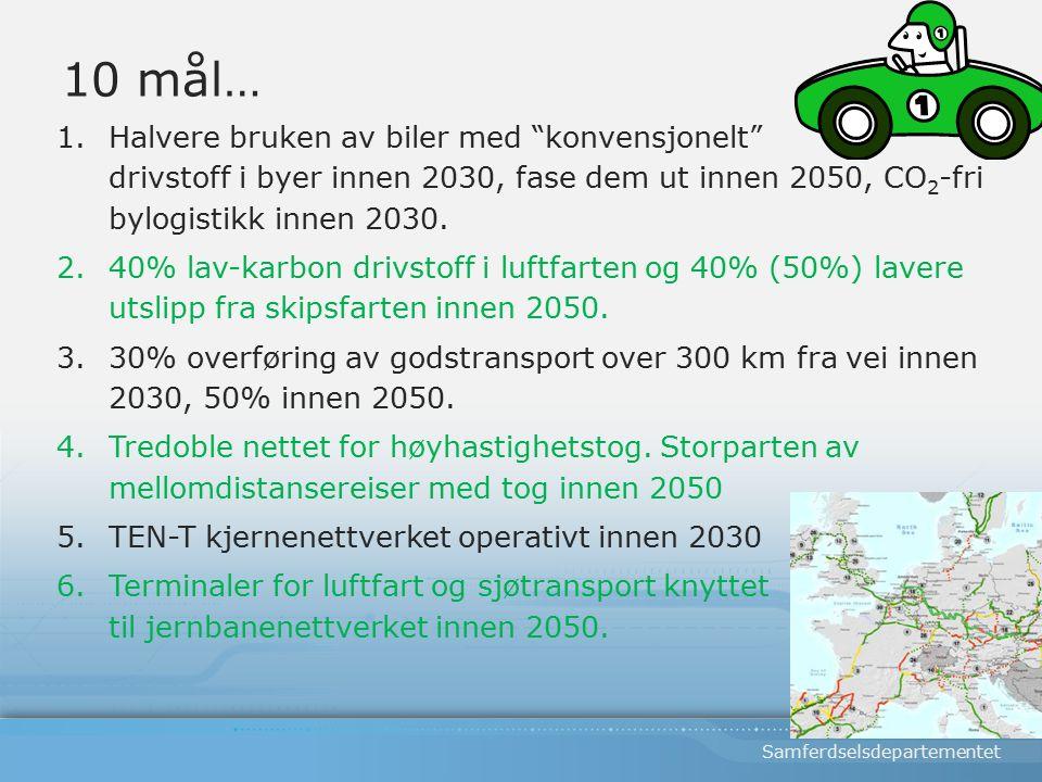 Samferdselsdepartementet 10 mål… 1.Halvere bruken av biler med konvensjonelt drivstoff i byer innen 2030, fase dem ut innen 2050, CO 2 -fri bylogistikk innen 2030.