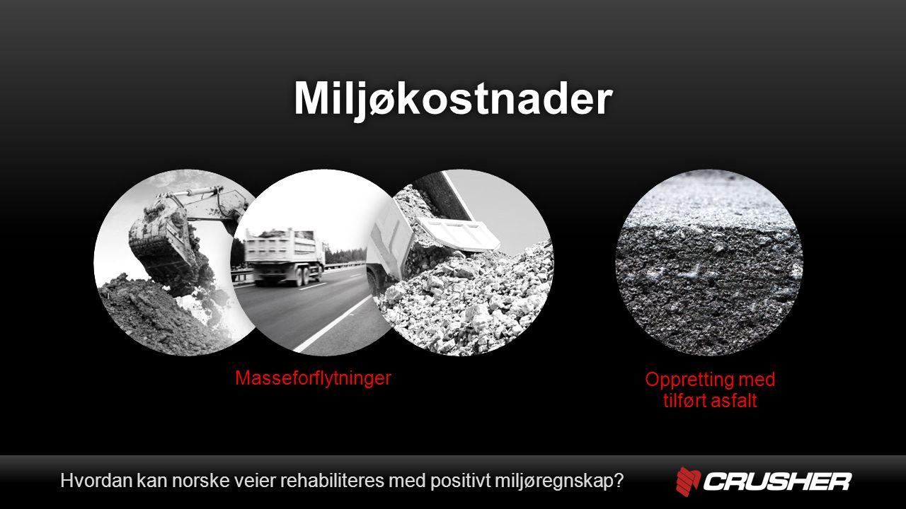 1) Gjenbruk av massene på stedet Hvordan kan norske veier rehabiliteres med positivt miljøregnskap?Hvordan kan norske veier rehabiliteres med positivt miljøregnskap?