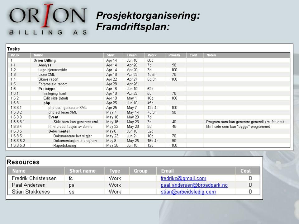 Prosjektorganisering: Framdriftsplan: