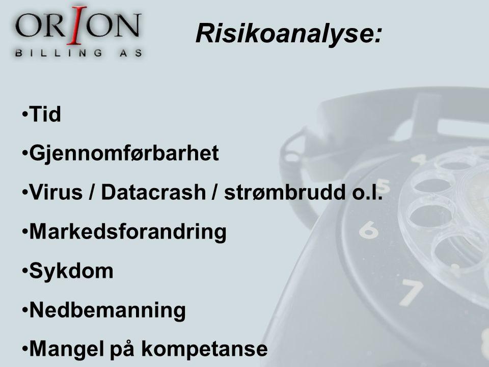 Risikoanalyse: Tid Gjennomførbarhet Virus / Datacrash / strømbrudd o.l. Markedsforandring Sykdom Nedbemanning Mangel på kompetanse