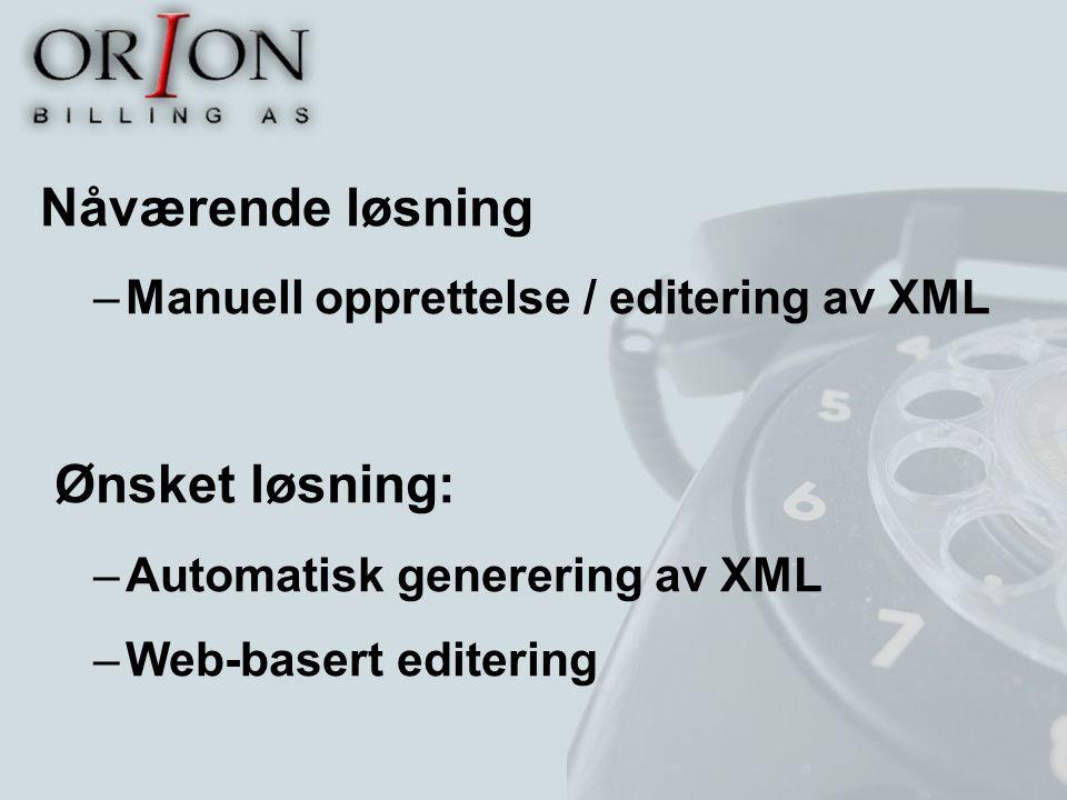 Nåværende løsning –Manuell opprettelse / editering av XML Ønsket løsning: –Automatisk generering av XML –Web-basert editering