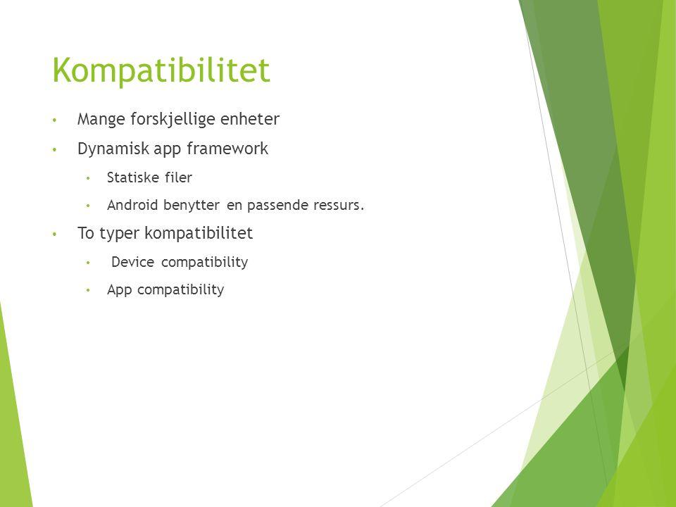 Kompatibilitet Mange forskjellige enheter Dynamisk app framework Statiske filer Android benytter en passende ressurs.