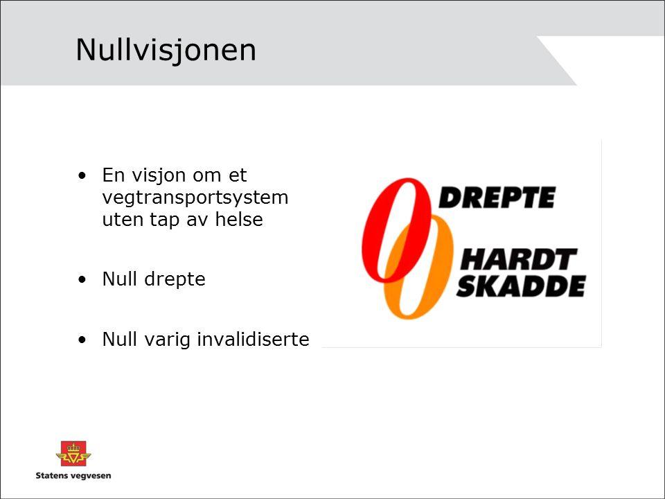 Nullvisjonen En visjon om et vegtransportsystem uten tap av helse Null drepte Null varig invalidiserte