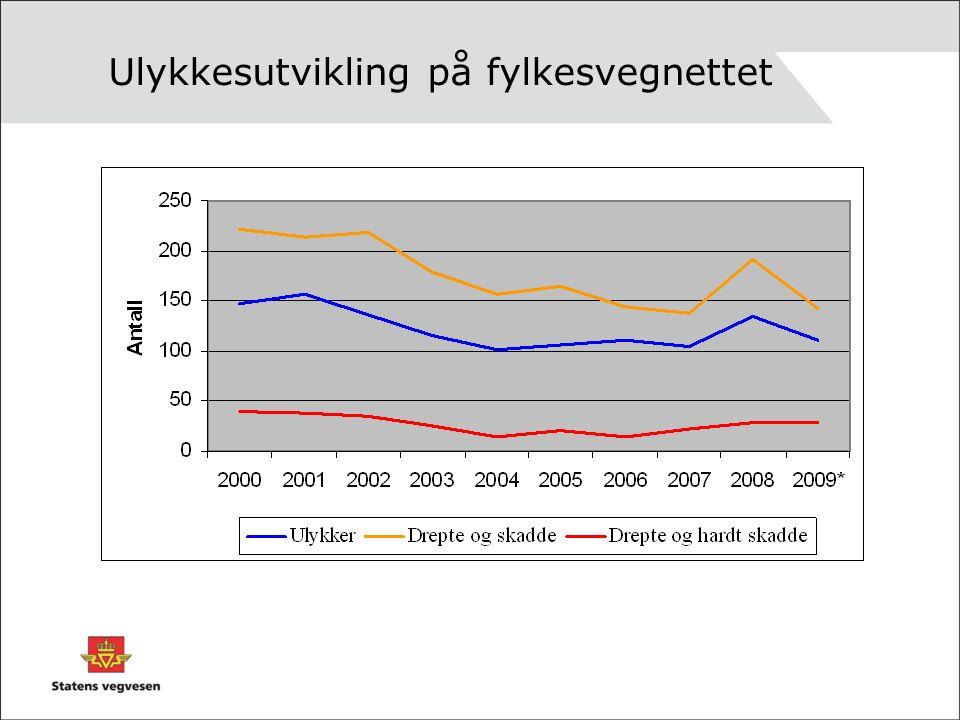 Ulykkestyper på fylkesvegene 2005-2009
