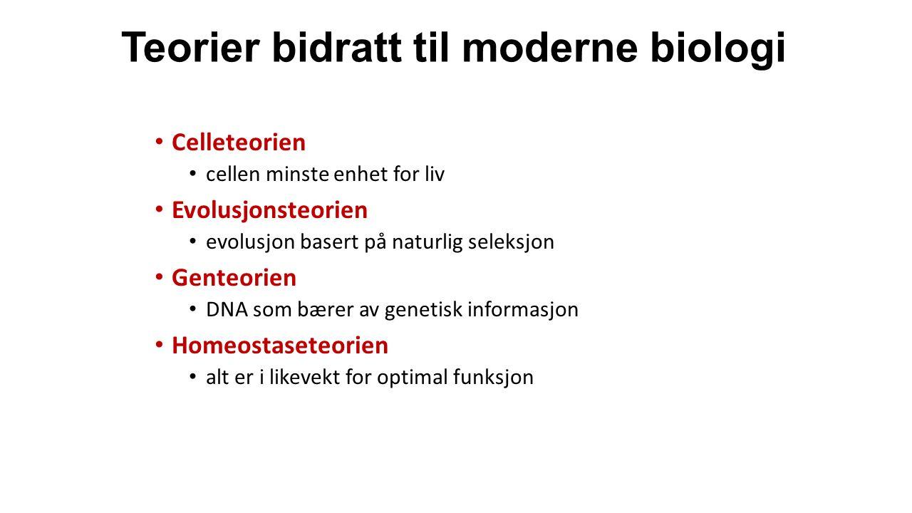 Teorier bidratt til moderne biologi Celleteorien cellen minste enhet for liv Evolusjonsteorien evolusjon basert på naturlig seleksjon Genteorien DNA som bærer av genetisk informasjon Homeostaseteorien alt er i likevekt for optimal funksjon