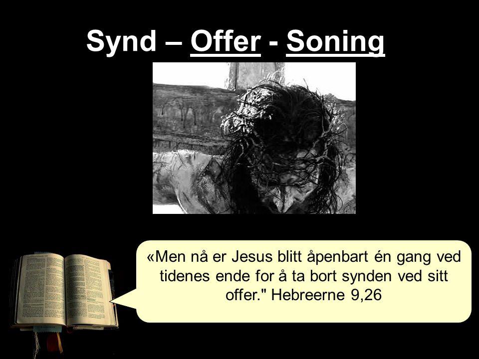 Synd – Offer - Soning «Men nå er Jesus blitt åpenbart én gang ved tidenes ende for å ta bort synden ved sitt offer. Hebreerne 9,26