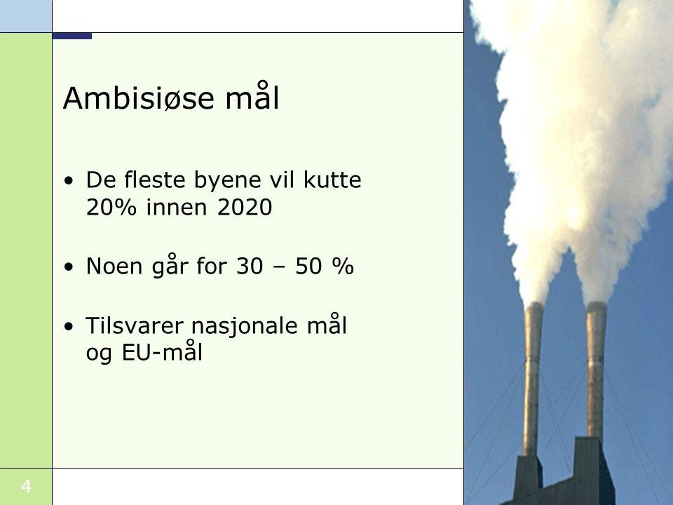 4 Ambisiøse mål De fleste byene vil kutte 20% innen 2020 Noen går for 30 – 50 % Tilsvarer nasjonale mål og EU-mål