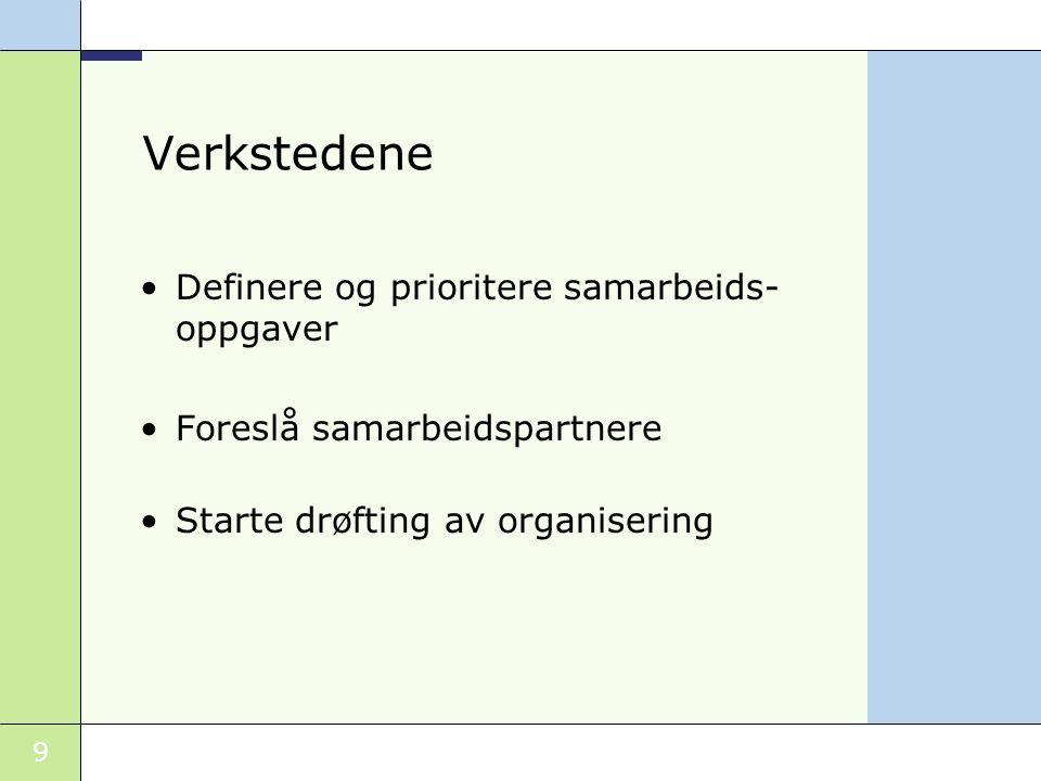 9 Verkstedene Definere og prioritere samarbeids- oppgaver Foreslå samarbeidspartnere Starte drøfting av organisering