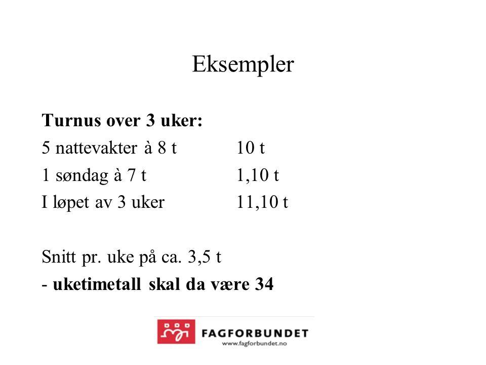 Eksempler Turnus over 3 uker: 5 nattevakter à 8 t 10 t 1 søndag à 7 t1,10 t I løpet av 3 uker 11,10 t Snitt pr.