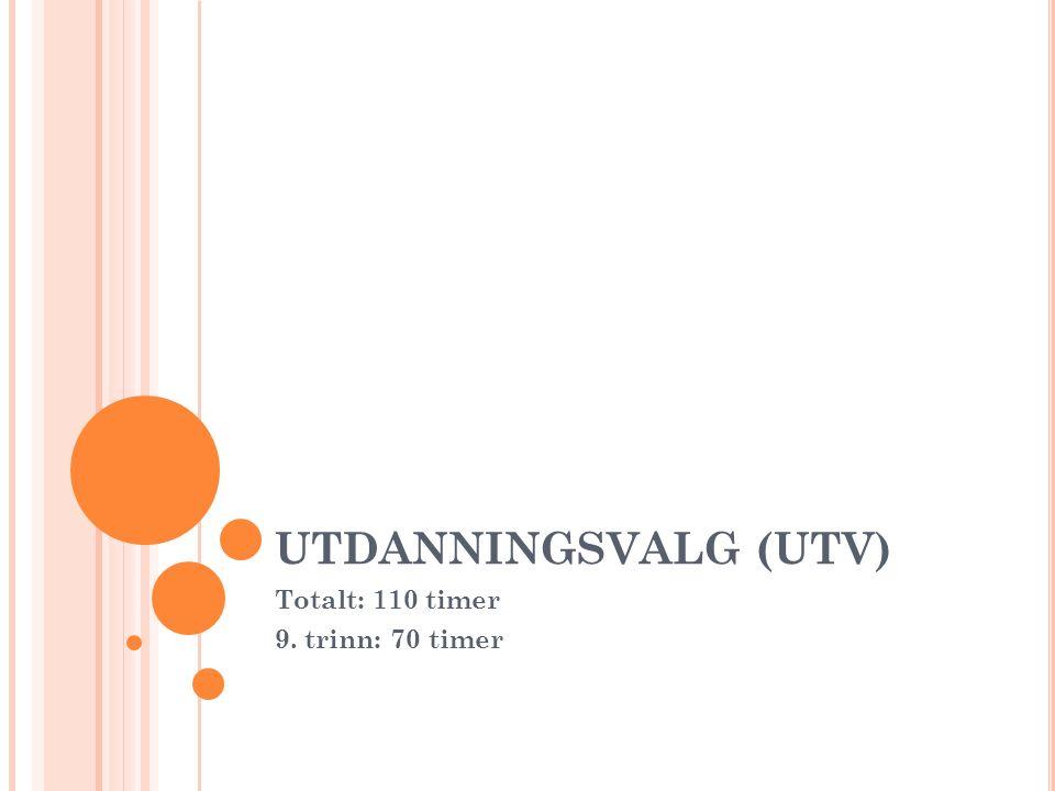 UTDANNINGSVALG (UTV) Totalt: 110 timer 9. trinn: 70 timer
