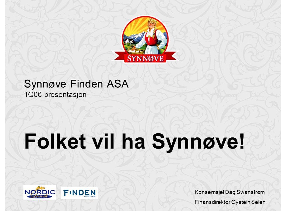 Konsernsjef Dag Swanstrøm Finansdirektør Øystein Selen Synnøve Finden ASA 1Q06 presentasjon Folket vil ha Synnøve!