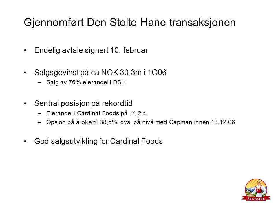 Gjennomført Den Stolte Hane transaksjonen Endelig avtale signert 10. februar Salgsgevinst på ca NOK 30,3m i 1Q06 –Salg av 76% eierandel i DSH Sentral