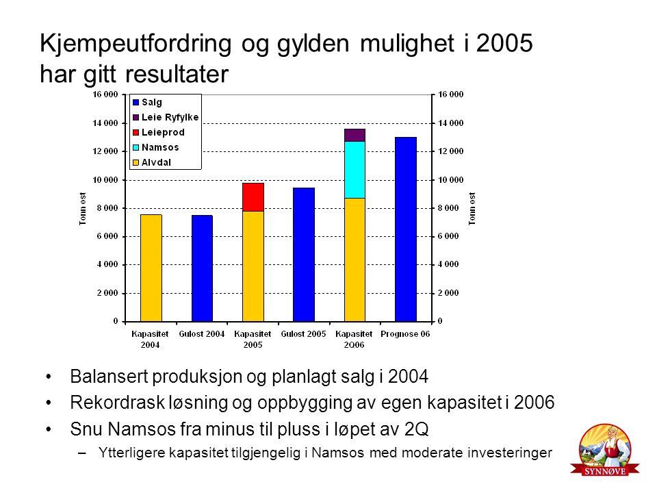 Kjempeutfordring og gylden mulighet i 2005 har gitt resultater Balansert produksjon og planlagt salg i 2004 Rekordrask løsning og oppbygging av egen kapasitet i 2006 Snu Namsos fra minus til pluss i løpet av 2Q –Ytterligere kapasitet tilgjengelig i Namsos med moderate investeringer