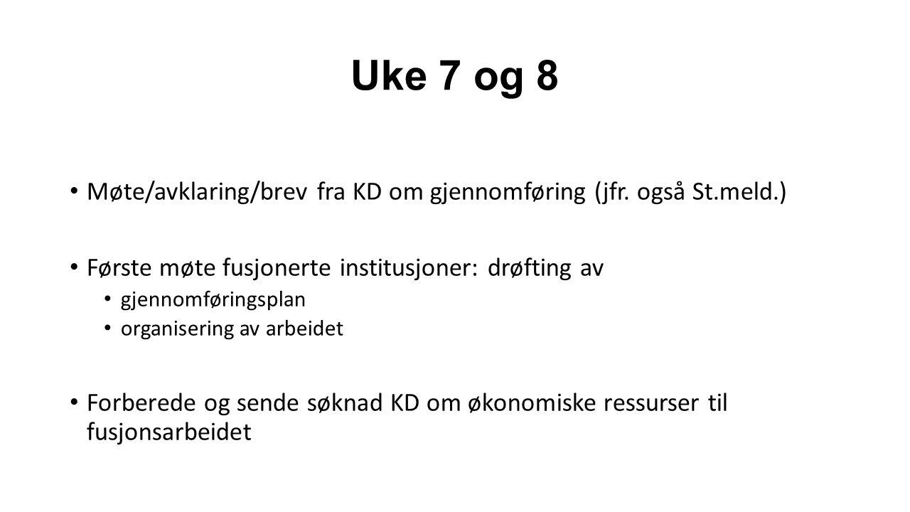 Uke 7 og 8 Møte/avklaring/brev fra KD om gjennomføring (jfr.