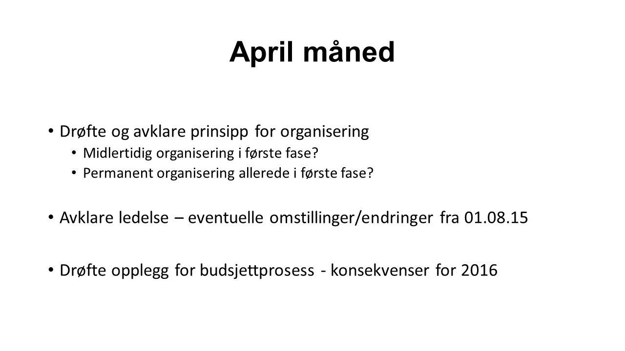 April måned Drøfte og avklare prinsipp for organisering Midlertidig organisering i første fase.