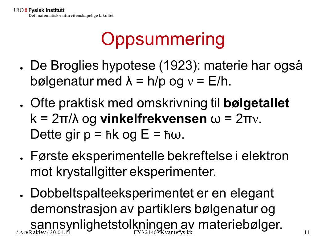 / Are Raklev / 30.01.11FYS2140 - Kvantefysikk11 Oppsummering ● De Broglies hypotese (1923): materie har også bølgenatur med λ = h/p og ν = E/h.
