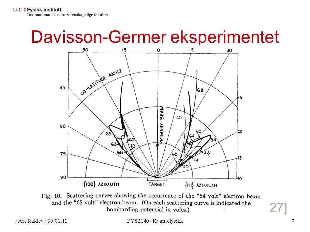 / Are Raklev / 30.01.11FYS2140 - Kvantefysikk7 Davisson-Germer eksperimentet [Davidson, Germer, 1927]