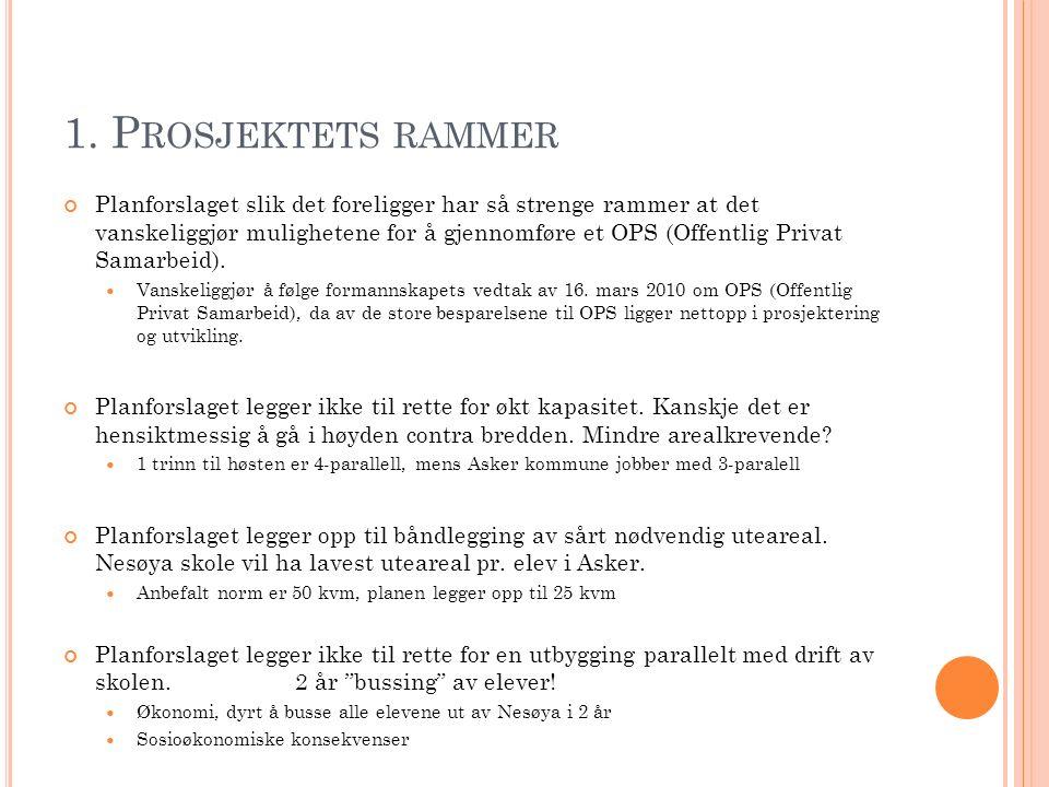 1. P ROSJEKTETS RAMMER Planforslaget slik det foreligger har så strenge rammer at det vanskeliggjør mulighetene for å gjennomføre et OPS (Offentlig Pr