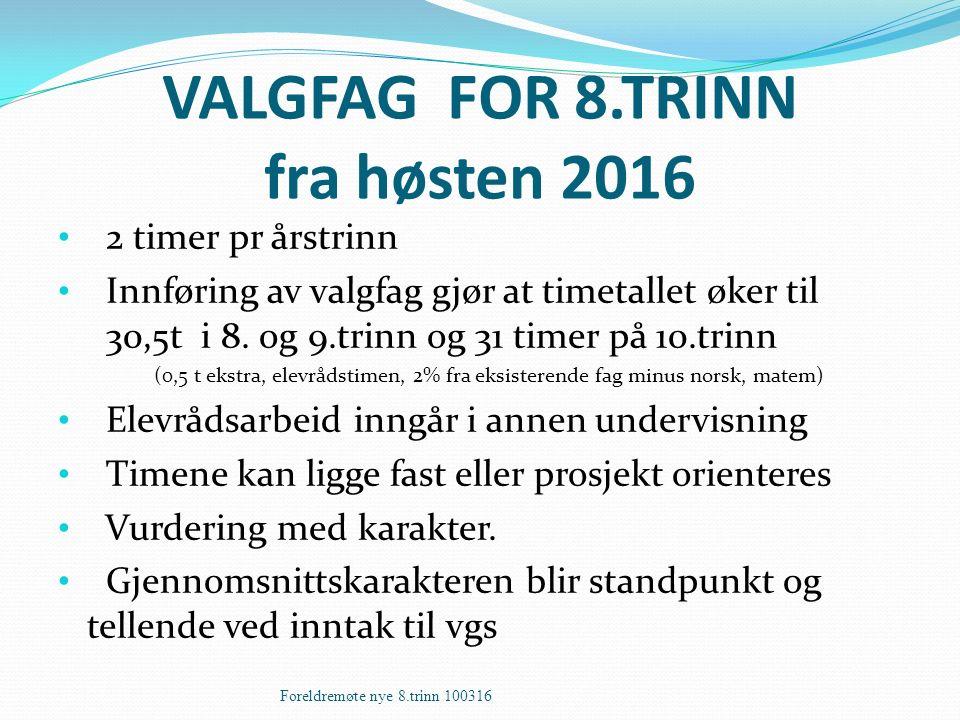 VALGFAG FOR 8.TRINN fra høsten 2016 2 timer pr årstrinn Innføring av valgfag gjør at timetallet øker til 30,5t i 8. og 9.trinn og 31 timer på 10.trinn