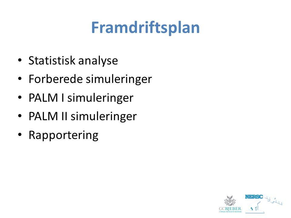 Framdriftsplan Statistisk analyse Forberede simuleringer PALM I simuleringer PALM II simuleringer Rapportering