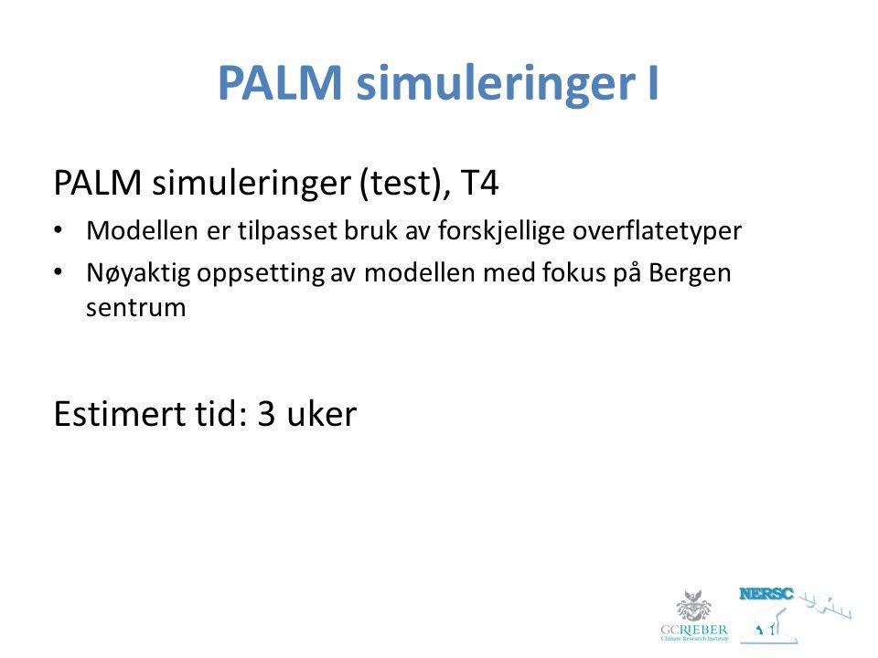 PALM simuleringer I PALM simuleringer (test), T4 Modellen er tilpasset bruk av forskjellige overflatetyper Nøyaktig oppsetting av modellen med fokus på Bergen sentrum Estimert tid: 3 uker