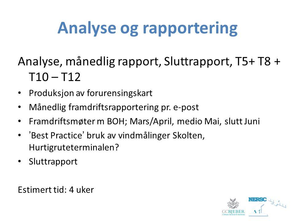 Analyse og rapportering Analyse, månedlig rapport, Sluttrapport, T5+ T8 + T10 – T12 Produksjon av forurensingskart Månedlig framdriftsrapportering pr.