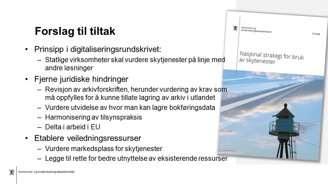 Kommunal- og moderniseringsdepartementet Bokmål mal: Tekst med kulepunkter - 1 vertikalt bilde Forslag til tiltak Prinsipp i digitaliseringsrundskrive