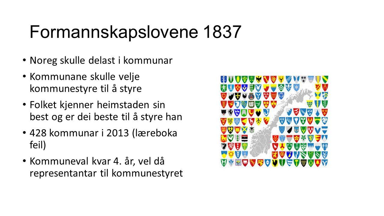 Formannskapslovene 1837 Noreg skulle delast i kommunar Kommunane skulle velje kommunestyre til å styre Folket kjenner heimstaden sin best og er dei be