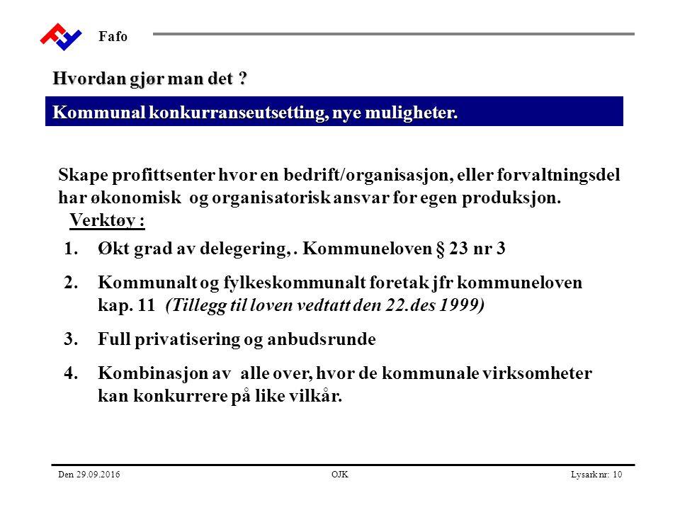 Fafo Den 29.09.2016OJKLysark nr: 10 Kommunal konkurranseutsetting, nye muligheter.