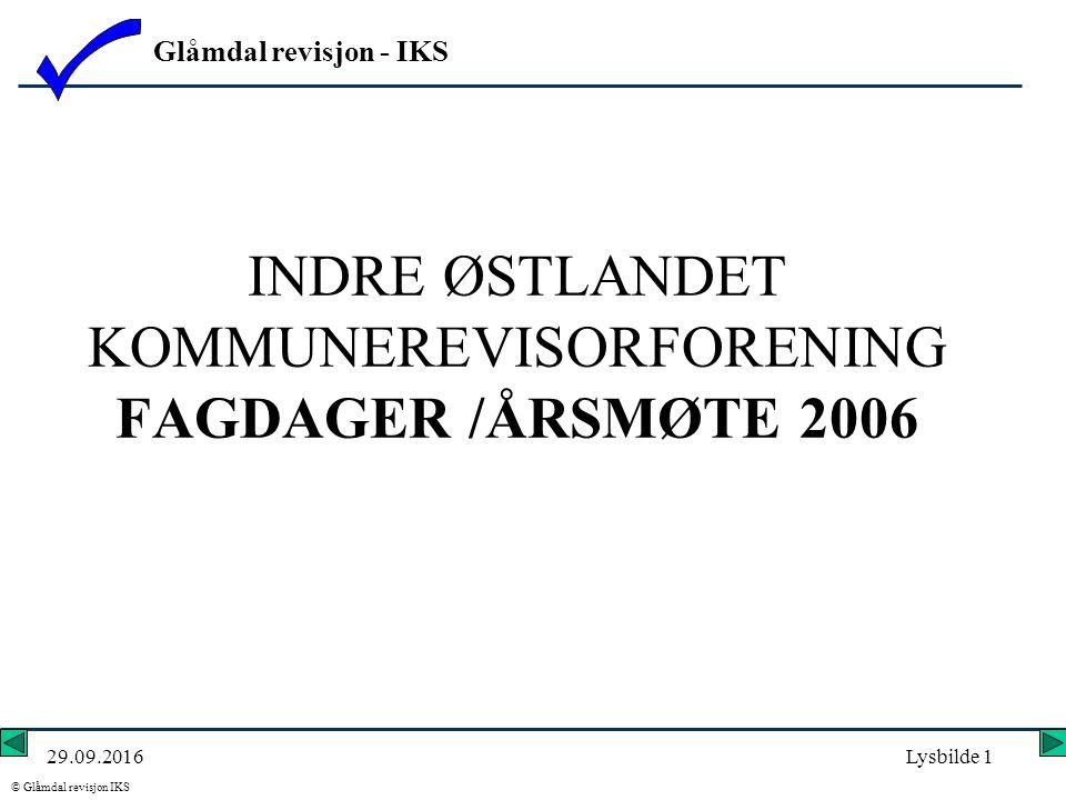 Glåmdal revisjon - IKS © Glåmdal revisjon IKS 29.09.2016Lysbilde 1 INDRE ØSTLANDET KOMMUNEREVISORFORENING FAGDAGER /ÅRSMØTE 2006