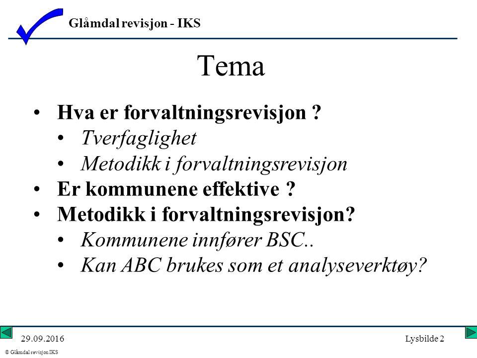 Glåmdal revisjon - IKS © Glåmdal revisjon IKS 29.09.2016Lysbilde 2 Hva er forvaltningsrevisjon .